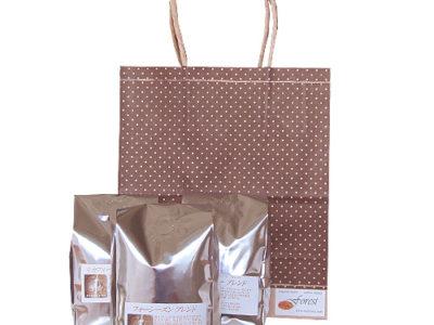 茶系ドット柄の手提げ袋