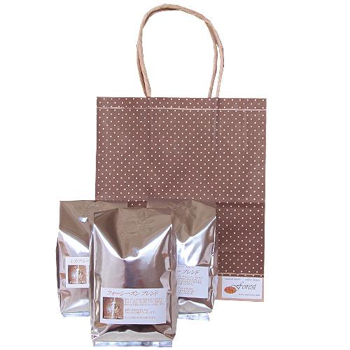 茶系ドット柄の手提げ袋(無料ラッピング)