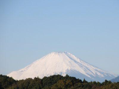 冬空に鎮座する真っ白な富士山