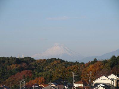 紅葉と傘雲らしき雲を被った富士山