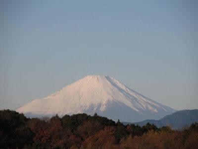 冬空に輝く富士山