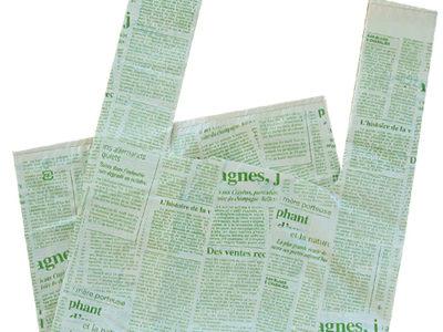 グリーン英字のレジ袋(無料ラッピング)